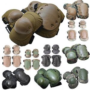 Ejército deportivo al aire libre Caza Paintball Disparo Camo Gear Protective Airsoft Kneepads Tactical Codo Knee Pads NO13-001