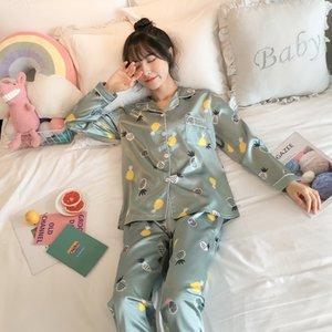 Olyweya pyjama pour femmes avec fleur imprimer mode luxe femme faux de soie deux morceaux chemises pantalons naôles vêtements de nuit
