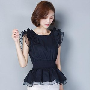 New Spring Summer Fashion Womens Splicing Chiffon Blouses O Neck Casual Shirts Ruffle Sleeve Chiffon Elegant Tops DD8267