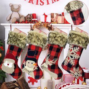 Christmas Socks Santa Claus Snowman Reindeer Snowflake Print Christmas Stockings Candy Bag Festival Holiday Home Decorations