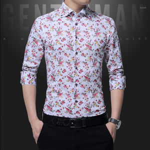 2021 New Fashion Casual Men Shirt Long Sleeve Europe Style Slim Fit Shirt Men High Quality Cotton Floral Shirts Mens Clothes1