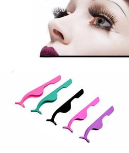 free shipping stainless steel eyelash extension tweezers Eye Lash applicator Makeup Tools Nipper Auxiliary Clip 10 colors