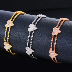 Siscathy Trendy Women Sweet Cute Heart Bracelets Charms Cubic Zirconia Luxury Link Chain Bracelets Fashion Jewelry Finding 2020