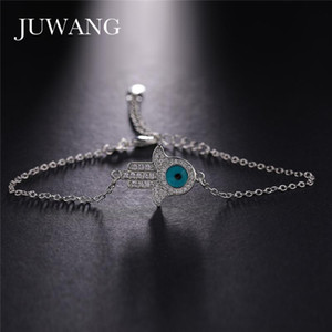 JUWANG New Fashion Cubic Zircon Evil Eye Charm Bracelets For Woman Gifts Adjustable Lobster Clasp Chain Bracelet Bangles Jewelry