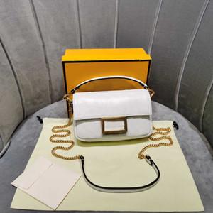 Ladies mini pochette F baguette letter embossing white genuine leather chain bag shoulder crossbody bags handbag top quality purse borse sac