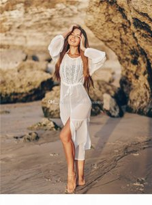 Women Tunic Swimwear Bikinis Cover-Ips White Chiffon Lace Tunic Beach Long Dress Summer Casual Lace Beachwear Sexy V-Neck Swimsuit Cover Up