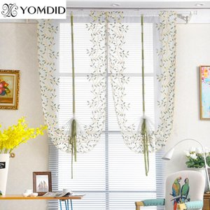 1PCS Pastoral Roman Curtains Willow Leaves Printed Curtain for Living room Kitchen window balcony embroidery Tulle curtain