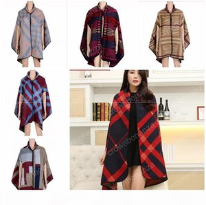fashion Women winter faux cashmere pashmina shawl boho style plaid thick warm blanket poncho feminino inverno scarves and stoles