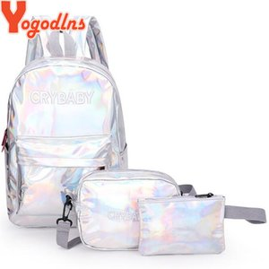 Yogodlns Holographic Laser Backpack Embroidered Patent Letter Hologram Backpack set School Bag +shoulder bag +penbag 3pcs 201120