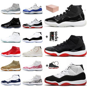 With Box 25th Anniversary Metallic Silver Bred Jumpman 11 11s Mens Basketball Shoes Concord Top Quality Cap and Gown Women Trainers Sneakers