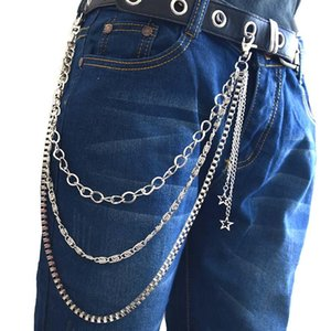 Hipster Pants KeyChain Rock Hip Hop Punk Wallet Belt Gothic Jeans Pants Chain Star Tassel Stage Women Men Accessories