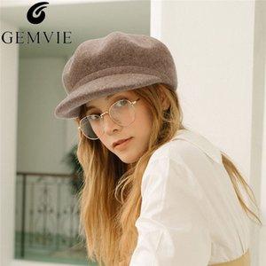 Gemvie осень зима шляпа кашемировая шерсть войлочная новость бобёр для женщин пекарь мальчик шапка твердого цвета леди теплая элегантная восьмиугольная шляпа T200104