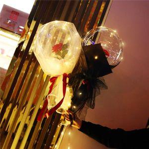LED Balloon Light LED Luminous Bobo Ball Flashing Light Rose Bouquet Rose Valentines Day Gift Balloon for Birthday Party GWB4208