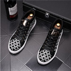 Men Embroidery Casual Ankle Boots Spring Autumn Rivets Luxury High Top Sneakers Male High Top Punk Style Shoes da011