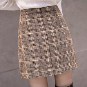 College Wind Skirt Autumn And Winter Womens New Students Retro Plaid A Word Short Skirt High Waist Bag Hip Step Skirt