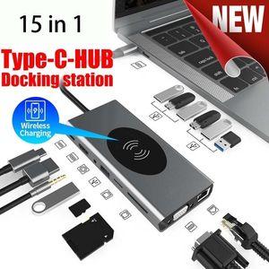 USB C 도킹 스테이션 허브 15 in 1 유형 C 도크 4K HDMI 1080P VGA PD TF 3.5mm 어댑터 USB 3.0 스플리터 10W 무선 충전기 MacBook 노트북