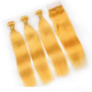 Los paquetes amarillos del cabello humano de Malasian se ocupan de 3 unids con el cierre superior 4pcs lot straight virgin straight weaves con cierre delantero de encaje 4x4