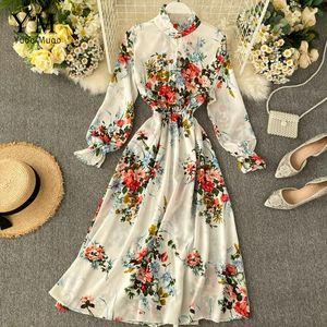 Long Dress Spring Autumn Vintage Women Flower Print Beach Bohemian Maxi Dress Casual Long Sleeve Chiffon vestidos