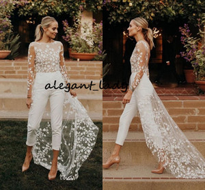 Bohemian Lace Wedding Dress with Jumpsuit 2020 Modest Long Sleeve Backless Jewel Countryside Beach Bride Pant Suit with Train