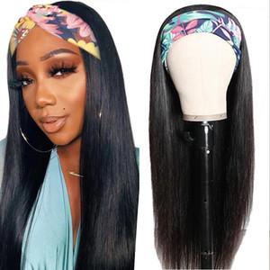 Gerade Stirnband Human Hair Perücke Brasilianische Human Haarperücken Für Frauen Full Machine Made Perig Remy Hair 150% Dichte