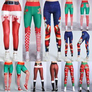 Women Christmas Leggings High Waist Elasticity Skinny Leggins Fitness Sexy Legging Ladies Printed Workout Stretch Pants Trousers