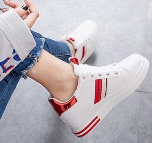 Casual Women Shoes Sneakers PU Leather White Lace-up Casual Flat Shoes Outdoor Zapatos Walking Shoes Size 35-40