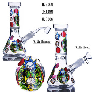 Cheap Cartoon Glass Water Bongs Sale Smoking Tool Glass Water Pipe With Downstem Perc Heady Glass Dab Rigs Bubbler Recycler 14MM Male Joint