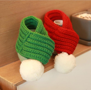 Pet Christmas Dog Knitted Scarf with White Pompom Cat Scarves for S M L Red Green Winter Warm Pet Accessories Holiday Dog Ornaments LY12043