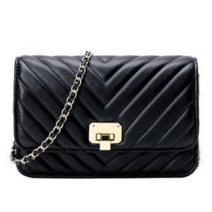 2020New Fashion Small Shoulderbag Versatile Style Diamond Chainbag One Shoulder Crossbody V-Shaped Thread Pattern Bag For Women