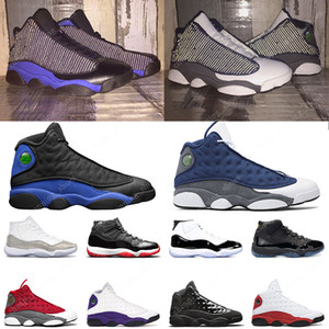 Flint 13 Jumpman 11 hommes femmes chaussures de basket Bred 11s Hyper Royal Lucky Green Playground 13s Concord Blue mens sport sneakers 5.5-13