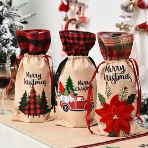 Plaid Wine Bottle Cover Champagne Bottle Covers Christmas Floral Car Wine Bag Xmas Wine Bags Party Dinner Table Decoration