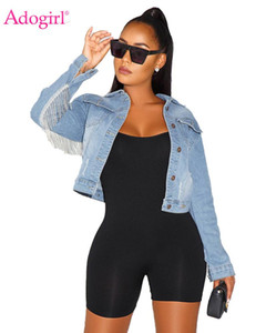 Adogirl Tassel Accent Short Jeans Jacket Turn Down Collar Long Sleeve Button Pockets Vintage Coat Women Fashion Denim Outwear