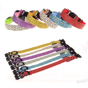 Nylon Leopard Pet Dog Collar Night Safety LED Recharge Collars Flat Fiber Collar Training Safety Collar Necklace Pet Supplies BH4414 WXM