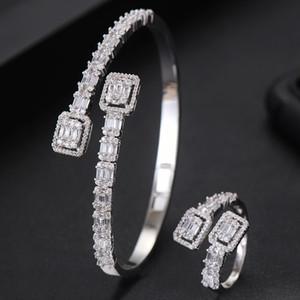 GODKI Luxury Trendy Saudi Arabia Bangle Ring Set Jewelry Sets For Women Wedding Engagement brincos para as mulheres 2020 Z1201