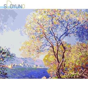 Sdoyuno 40x50 cm yağlıboya göre sayılar kitleri manzara çerçevesiz boya by numbers ağacı diy dijital tuval boyama ev dekorasyon