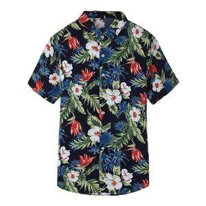 Hot Fashion Designer Slim Fit Shirts Men Black Navy Floral Print Mens Dress Shirts Short Sleeved Hawaiian Casual Shirts Males Clothes