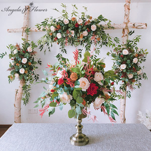 Red Green Wedding backdrop silk flower props solid arch floral artificial flower arrangement photo studio photo party decoration Z1120