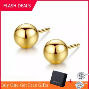 Gem&Time Genuine 18K Gold Solid Bead Ball Stud Earrings For Women Minimalism Yellow Gold Earrings Statement Jewelry Pendientes J1202