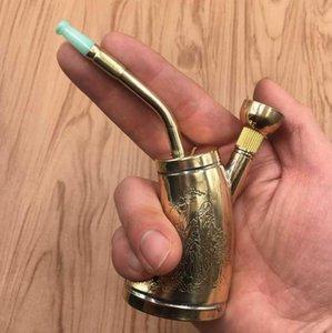 Cobre puro mini hookah filtro de água portátil tubulação de latão dupla propósito retro tubo de água tabaco saco