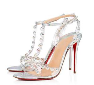 Lujoso verano rojo fondo farquievie bombas tachuelas tobillo correa tacones altos tacones de boda vestido de boda señoras gladiador sandalias EU35-43