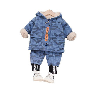 Fashion Children Zipper Clothes Suit New Autumn Winter Baby Boys Girls Cotton Hoodies Pants 2Pcs sets Toddler Thicken Sportswear Y1117