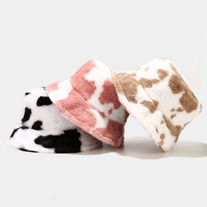 8 Styles Black And White Cow Pattern Fisherman Hat Tourism Outdoor Warm Plush Hat Female Printing Basin Caps LLA78