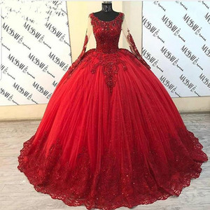 Puffy Ball Gown Quinceanera Dresses Long Sleeve Red Tulle Beaded Lace Sweet 16 Mexican Party Dress Cinderella Ball Gowns