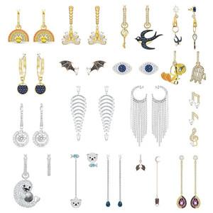 High Quality Original SWA ED014 Earrings with Original Engraved Tarot Cartoon Bird Rainbow Fashion Glamour Ladies Earrings
