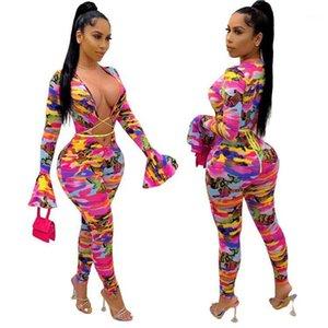 Fashion Camouflage Stampa Scava fuori Bandge Body Body Primavera Autunno Manica lunga Sexy Slim Pagliaccetti Combinaison Femme Party Donne tute