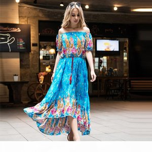 New Bohemian dresses for womens printed long summer dress shorts sleeves boho plus size maxi casual dresses for women clothes