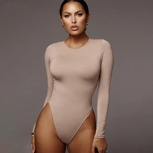 New O Neck Long Sleeve Solid White Sexy Bodysuit Women Black Autumn Winter Body Top Gray Lady Streetwear Bodysuits clothes suit