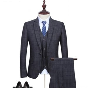 Loldeal 2020 new arrival high quality fashion Single button suits men,men's Classic small plaid woolen wedding dress suit