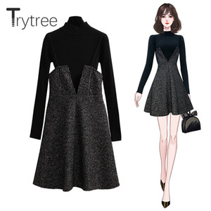 Trytree 2020 Autumn Winter Two piece set Casual Turtleneck Sweater Knitting Top + Sling Dress Mini Loose A-line Set 2 Piece Set