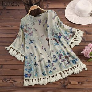 Kimono ZANZEA Women Tops and Blouses Floral Print Shirt 2021 Summer Fringe Kimono Blusas Ladies Casual Beach Bikini Cover up